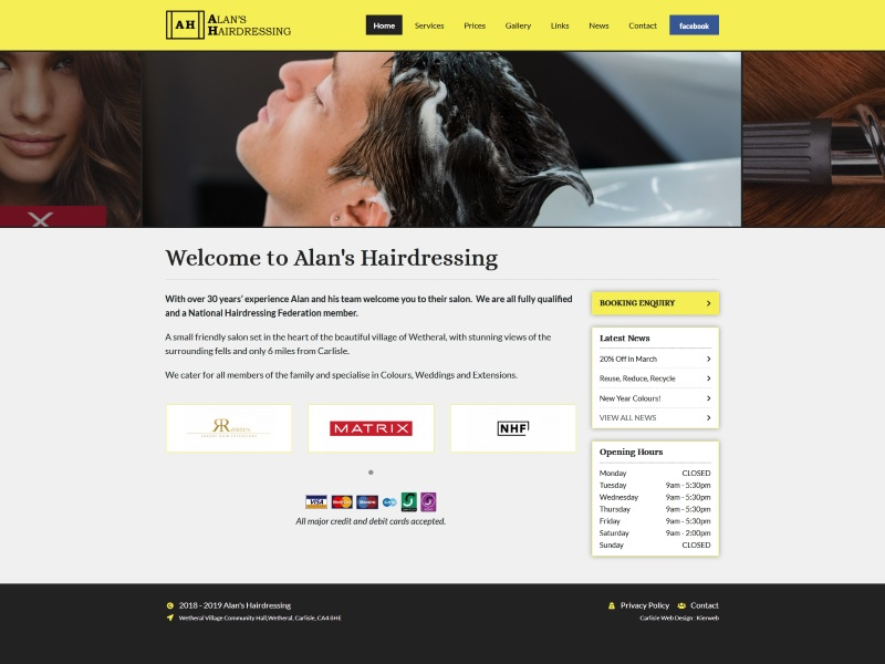 Alan's Hairdressing - Hairdressers based in Wetheral, Cumbria