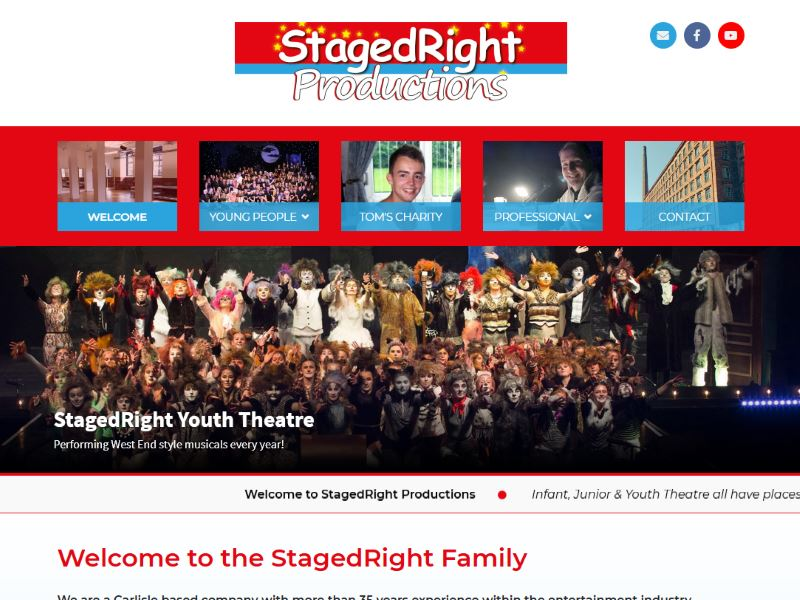 StagedRight Productions - Cumbria's award winning Youth Theatre and professional production company specialising in Musical Theatre for students aged 4-18.