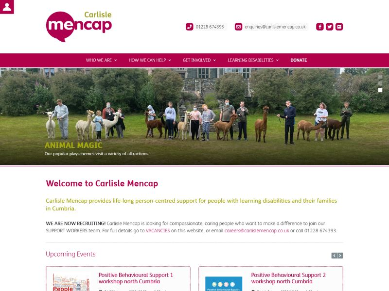 Carlisle Mencap - Provides support for children and adults with learning disabilities and their families across Cumbria.