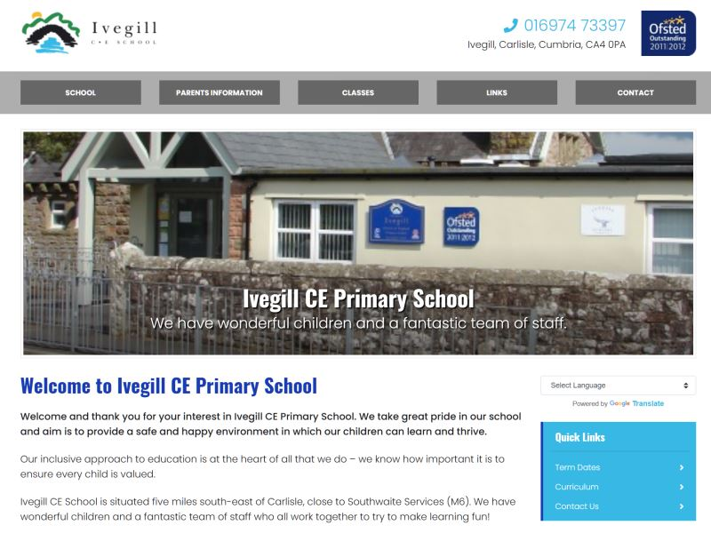 Ivegill CE Primary School - A primary school located in Cumbria, five miles south east of Carlisle.