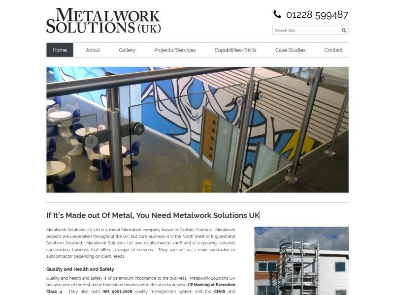Metalwork Solutions UK - A metal fabrication company based in Carlisle, Cumbria.