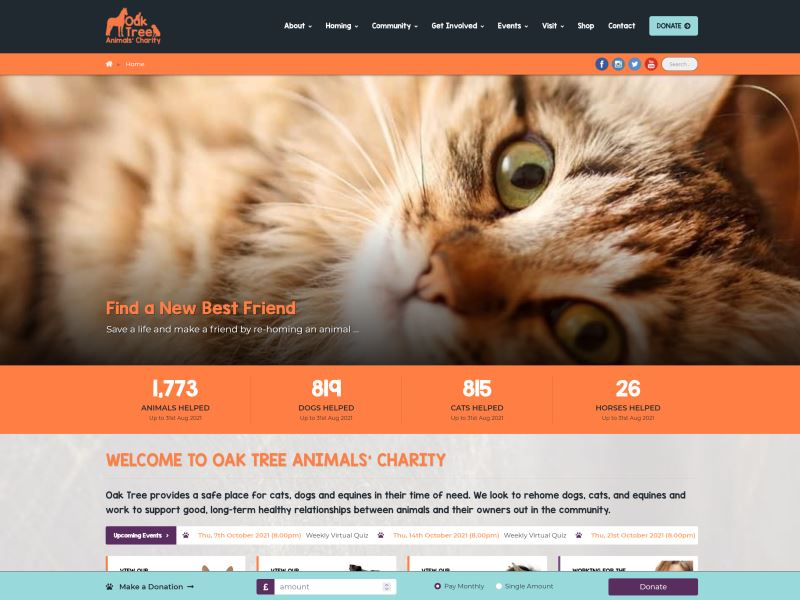 Oak Tree Animals' Charity - Cumbria's independent animal rescue and re-homing centre.