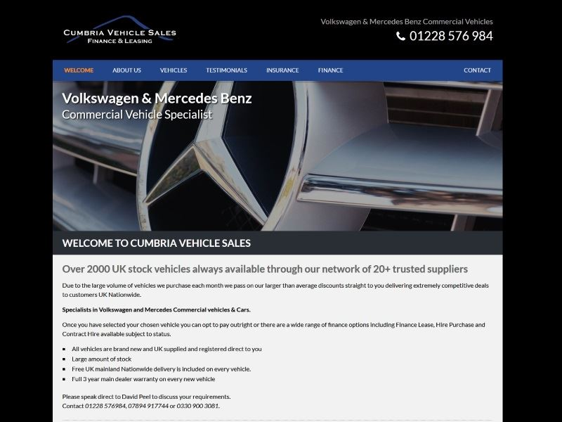 Cumbria Vehicle Sales - Specialists in Volkswagen and Mercedes Commercial vehicles & Cars.