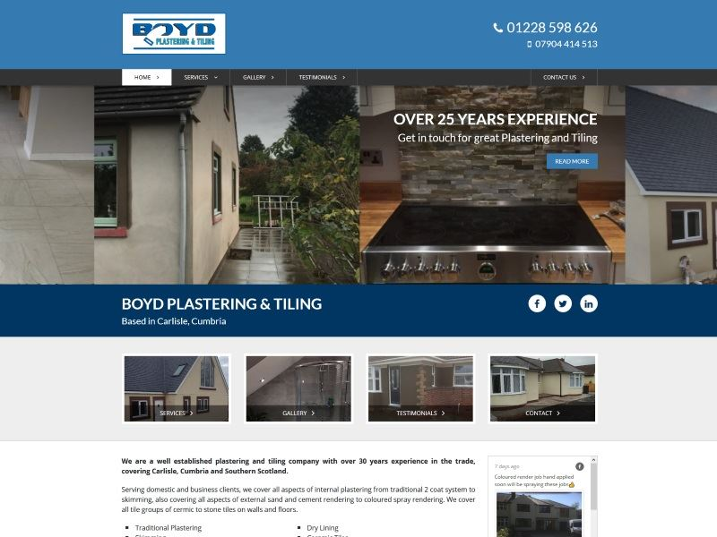 Boyd Plastering & Tiling - Established plastering and tiling company with over 30 years experience in the trade, covering Carlisle, Cumbria and Southern Scotland.